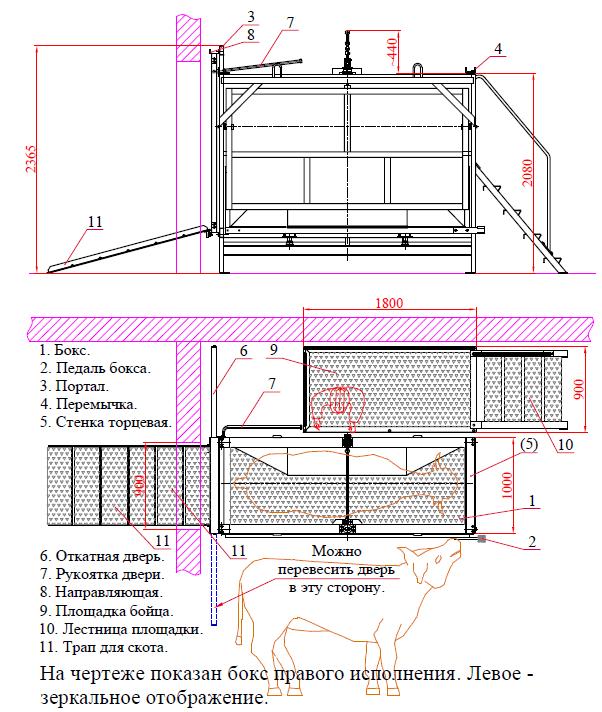 Бокс ММ-ФБО для оглушения КРС (саморазгружающийся) - схема