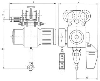 Цепные электротельферы типов В и ВУ - схема