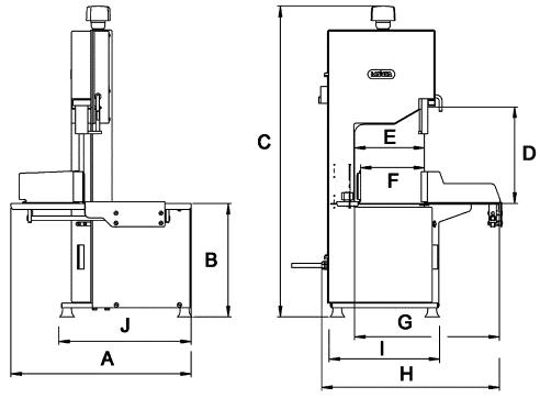 Ленточная пила Mainca BM-3000JV / BM-3000LHS - схема